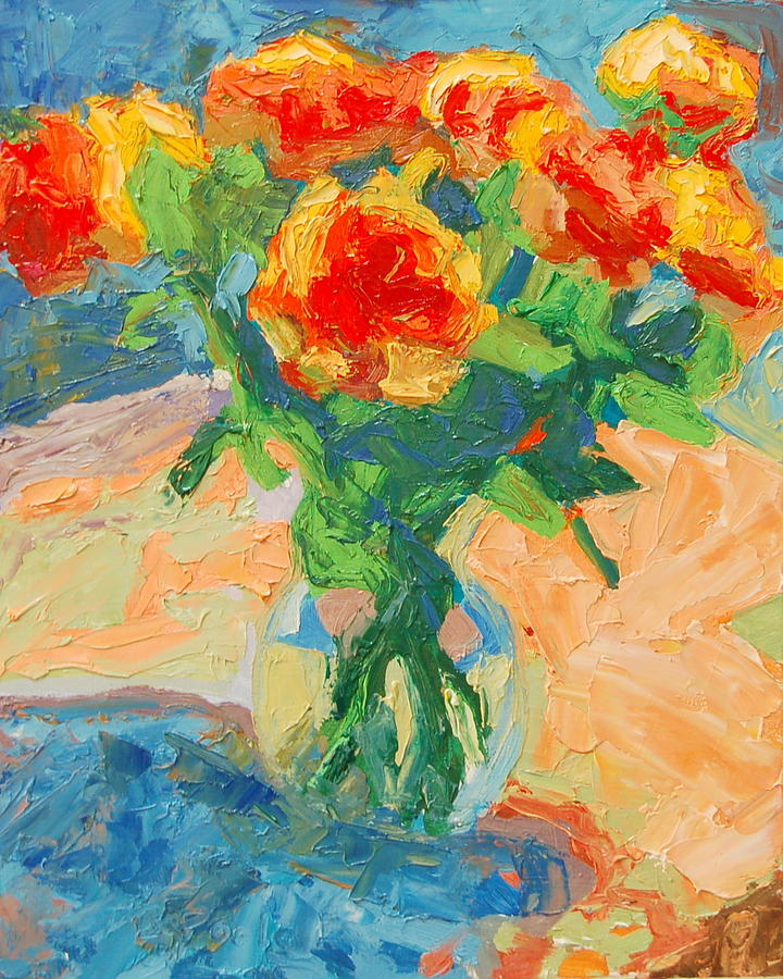 Orange Roses In A Glass Vase Painting  - Orange Roses In A Glass Vase Fine Art Print
