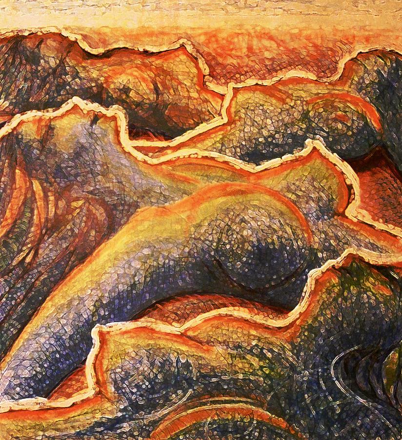 Abstract Drawing - Orange Seaside by Florin Birjoveanu