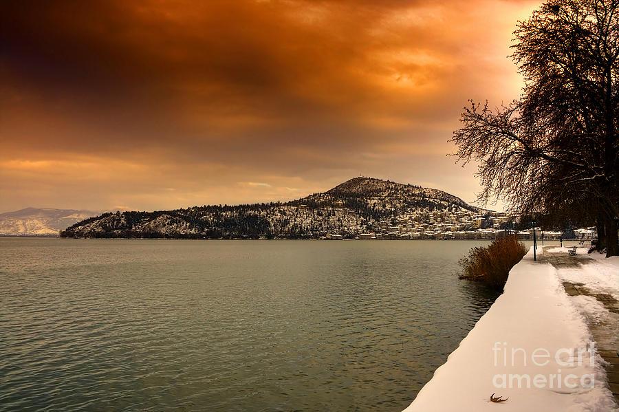 Boat Pyrography - Orange Sky On Snowy City... by Soultana Koleska