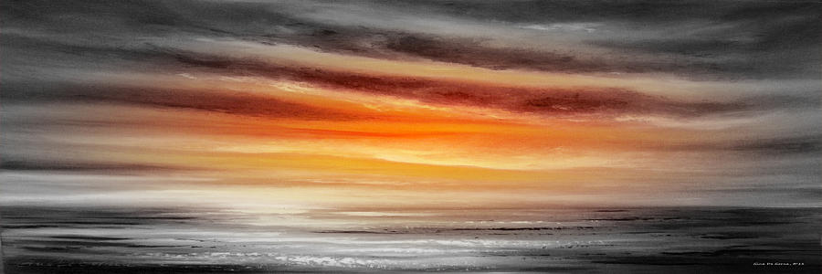 Orange Sunset - Panoramic Painting  - Orange Sunset - Panoramic Fine Art Print