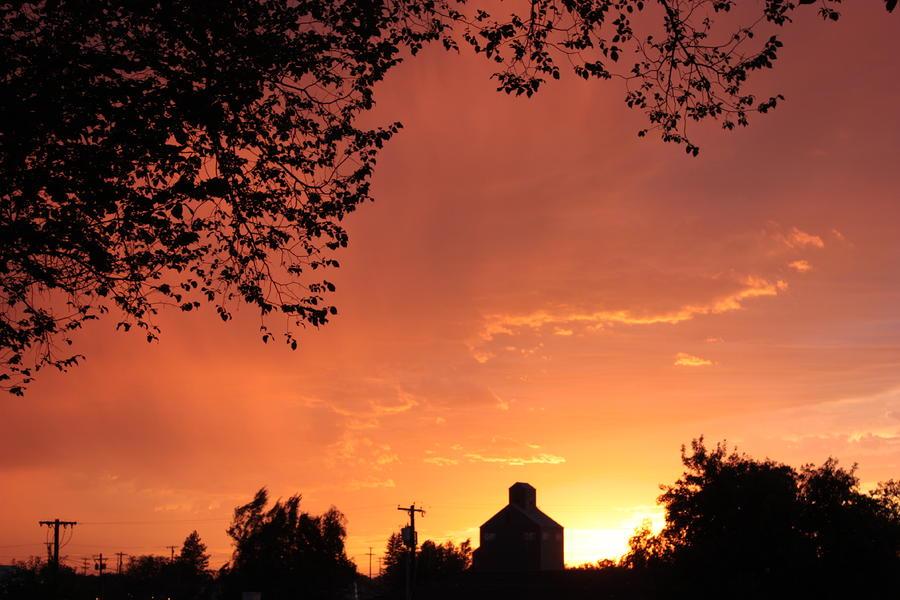 Orange Sunset Over Prosser Photograph