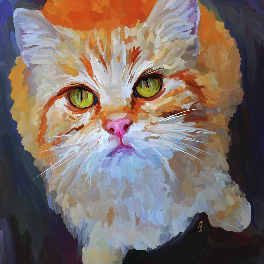 Orange Tabby Cat - Square Painting