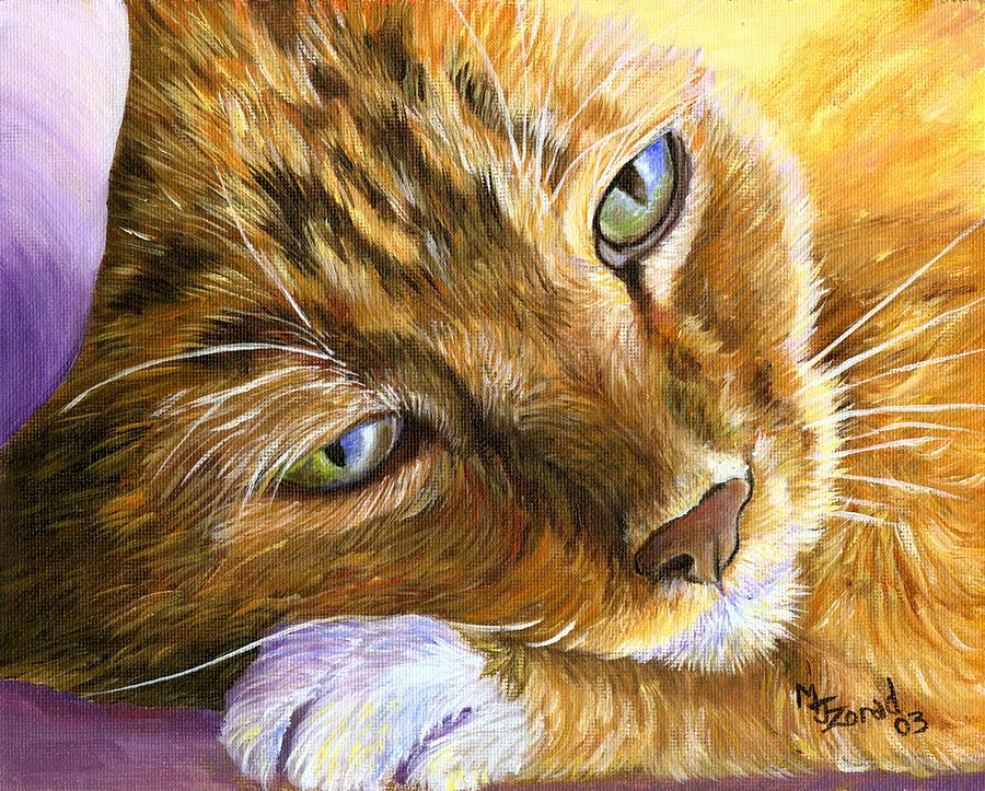 Orange Tabby Cat Framed Print Painting