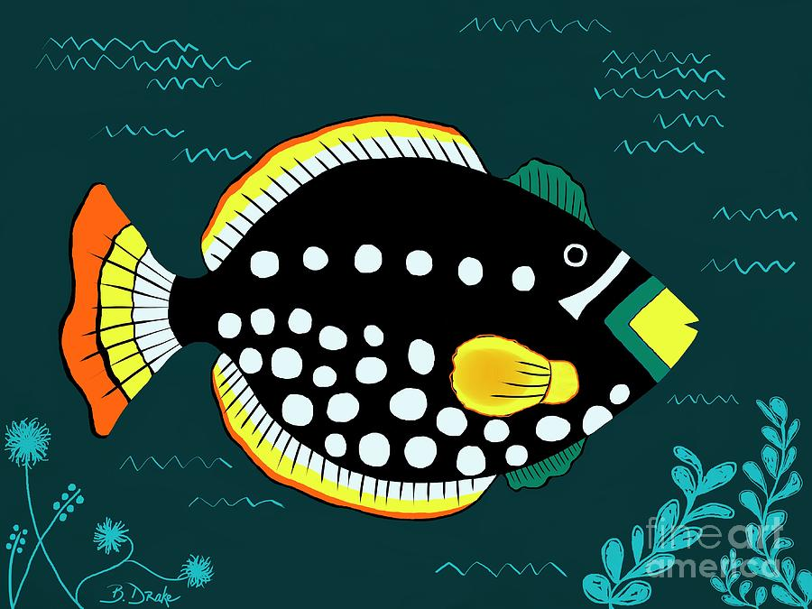Orange Tail Polka-dot Yellow Nose Snap Fish Painting