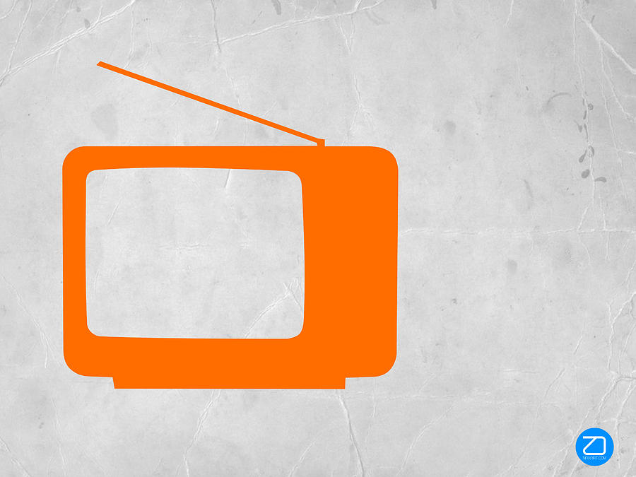 Orange Tv Vintage Mixed Media  - Orange Tv Vintage Fine Art Print