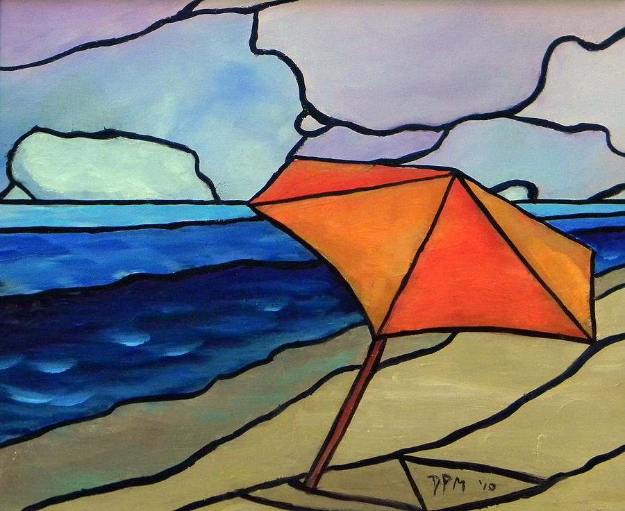 Orange Umbrella At The Beach Painting  - Orange Umbrella At The Beach Fine Art Print