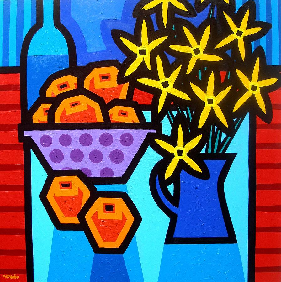 Oranges Flowers And Bottle Painting  - Oranges Flowers And Bottle Fine Art Print