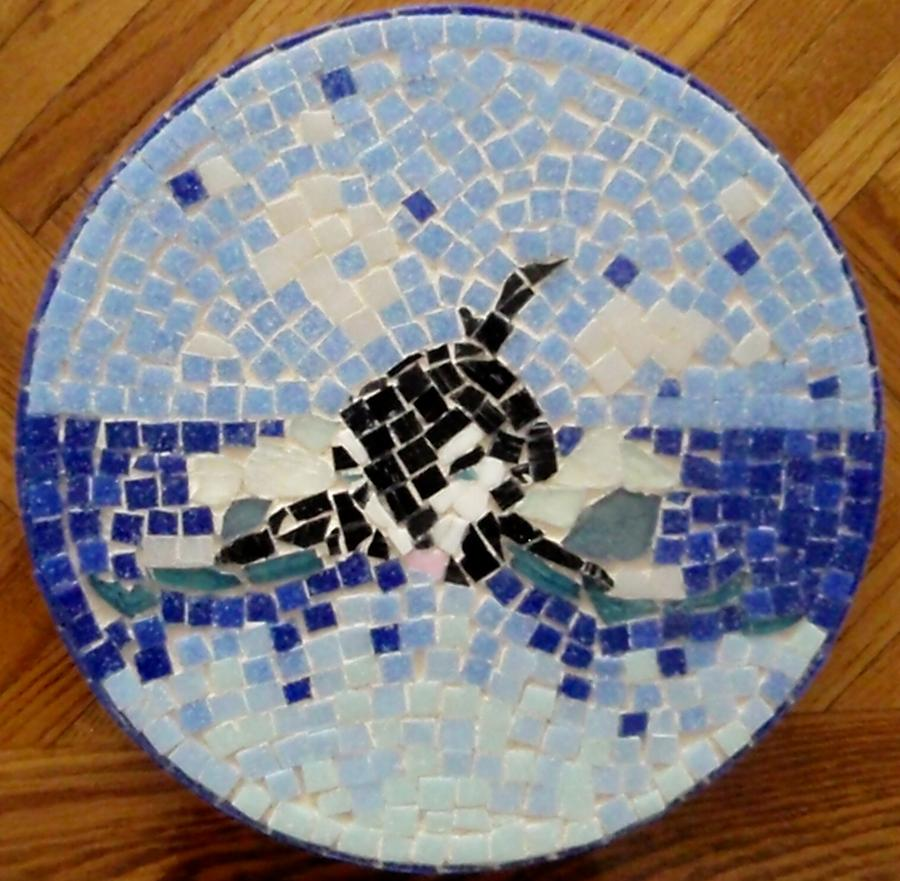 Orca Mosiac Glass Art