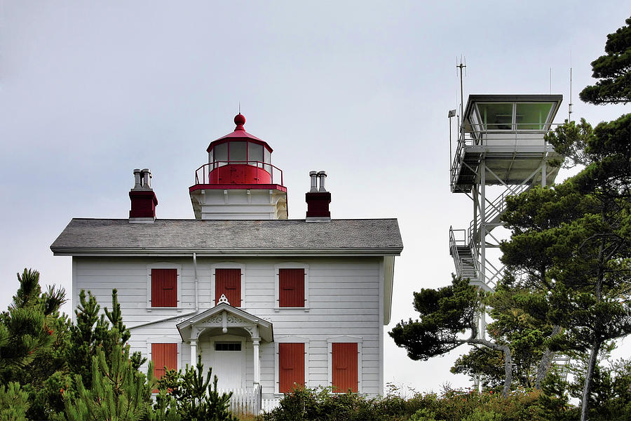 Oregons Seacoast Lighthouses - Yaquina Bay Lighthouse - Old And New Photograph  - Oregons Seacoast Lighthouses - Yaquina Bay Lighthouse - Old And New Fine Art Print