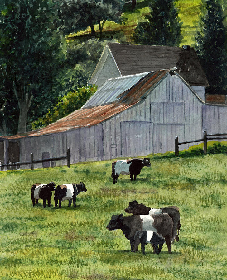 Oreo Cows In Napa Painting  - Oreo Cows In Napa Fine Art Print