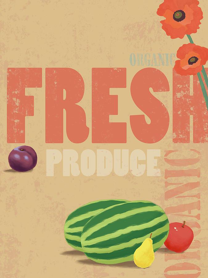 Vertical Digital Art - Organic Fresh Produce Poster Illustration by Don Bishop