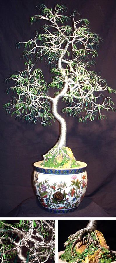 Oriental Bonsai Wire Tree Sculpture Sculpture