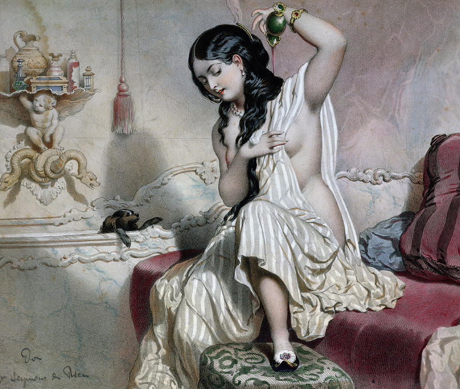 Oriental Woman At Her Toilet Painting