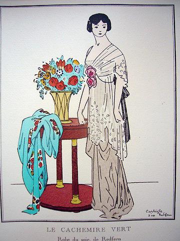 Deco Original on Original 1920s Art Deco Fashion Print Gazette Du Bon Ton Le Cachemire