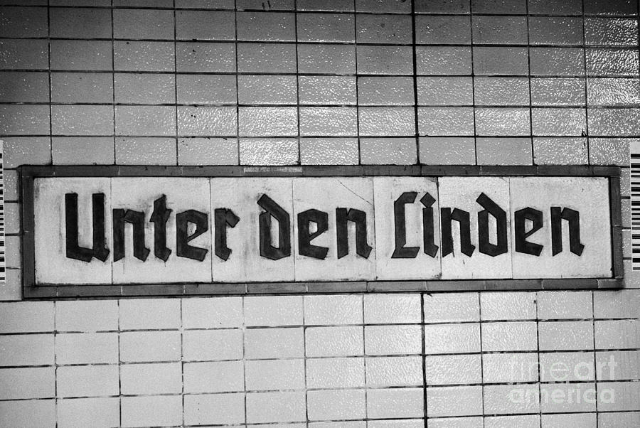 original 1930s Unter den Linden Berlin U-bahn underground railway station name plate berlin germany Photograph