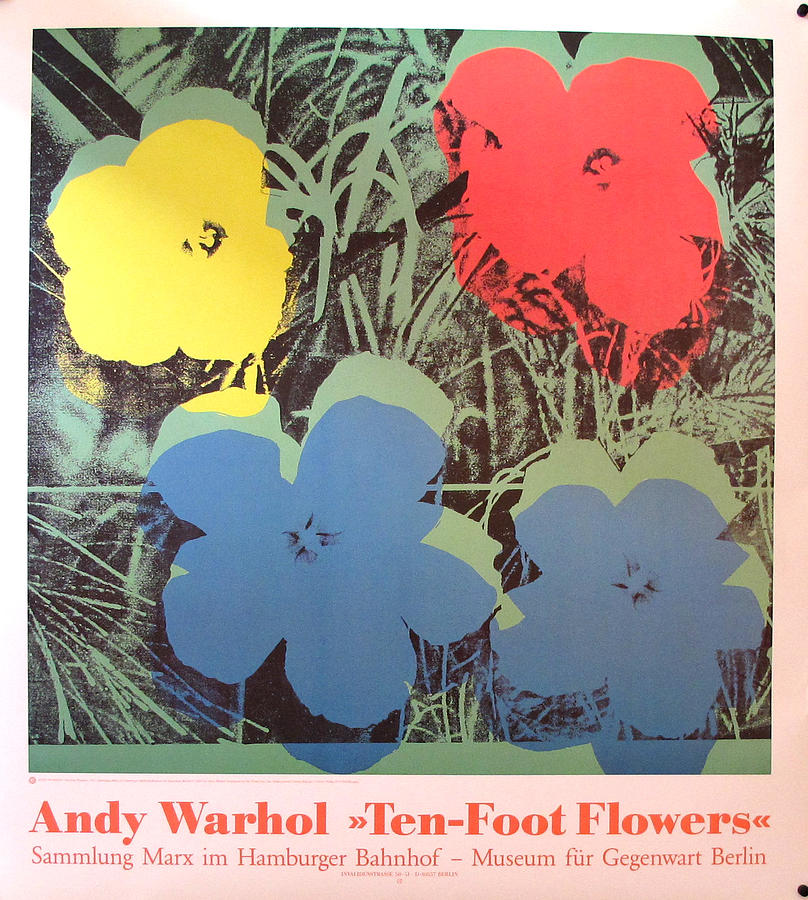 Original 1990s Berlin Exhibition Poster - Andy Warhol - Ten Foot Flowers Painting