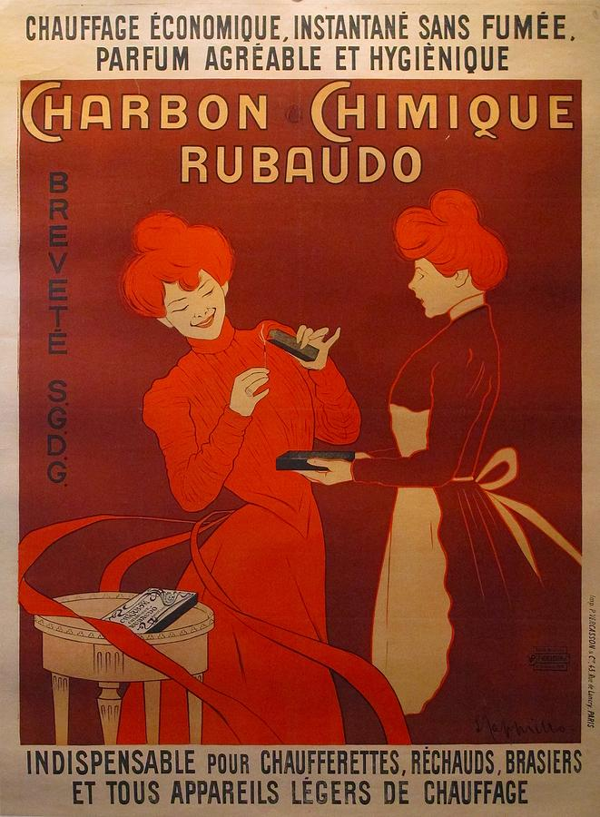 Original Art Nouveau French Vintage Poster Charbon Chimique Cappiello Drawing