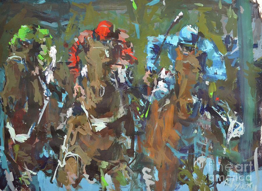 Original Contemporary Horse Racing Painting Painting  - Original Contemporary Horse Racing Painting Fine Art Print