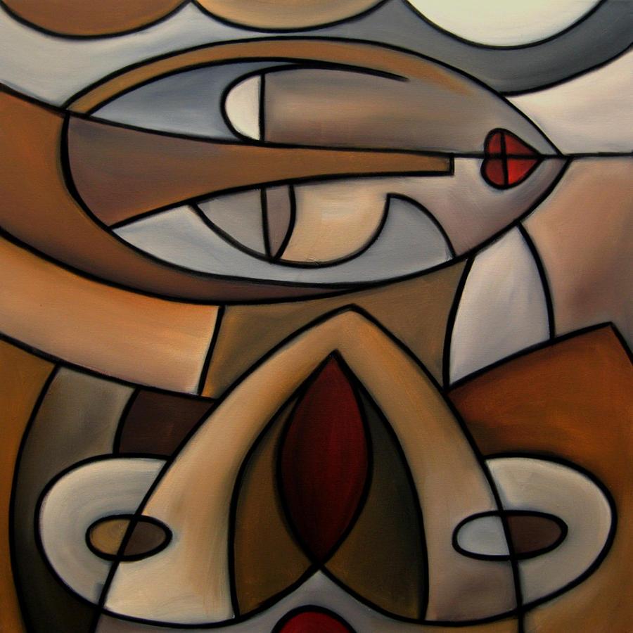 Original Cubist Art Painting - Mama Painting