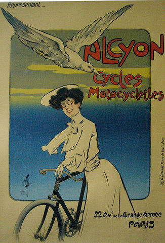 Original French Vintage Poster Cycles Alcyon C 1900 Drawing