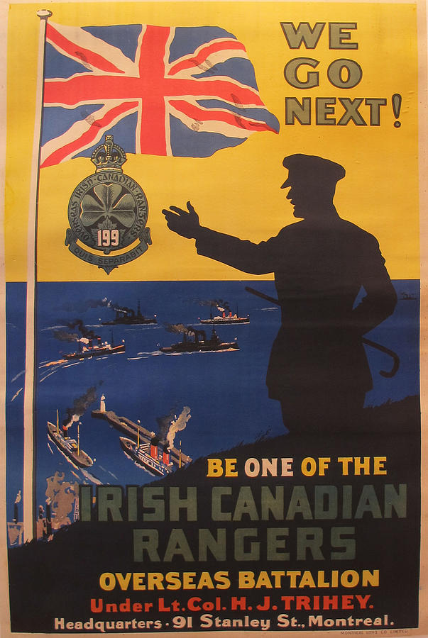 Original Irish Canadian Rangers Recruiting Poster Wwi Painting