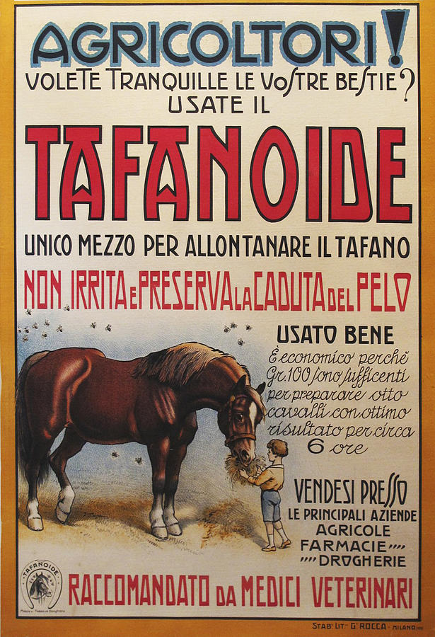 Original Italian 1930s Ad For Tafanoide - Food Formula For Animals Painting