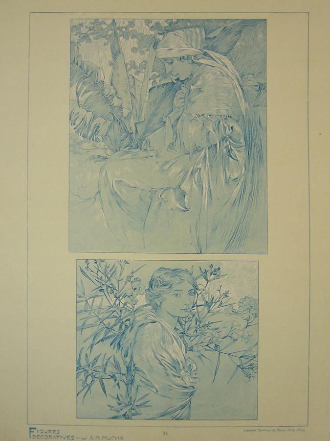 Mucha Drawing - Original Print 1902 Mucha Document Du Decorateur 34 by Mucha Alfonse