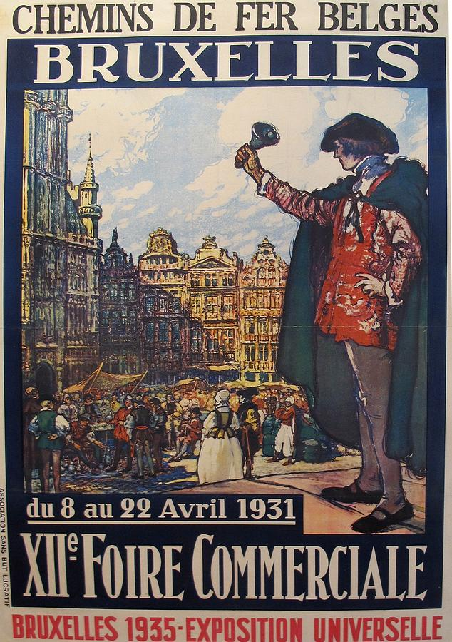 Original Vintage Belgian Poster Expo Universelle 1935 Drawing