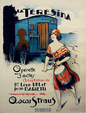 Original Vintage French Opera Poster La Teresina 1920s Drawing