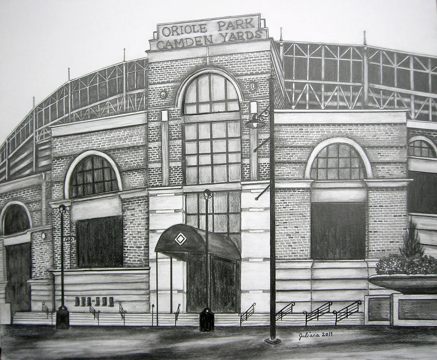 Oriole Park Camden Yards Drawing  - Oriole Park Camden Yards Fine Art Print