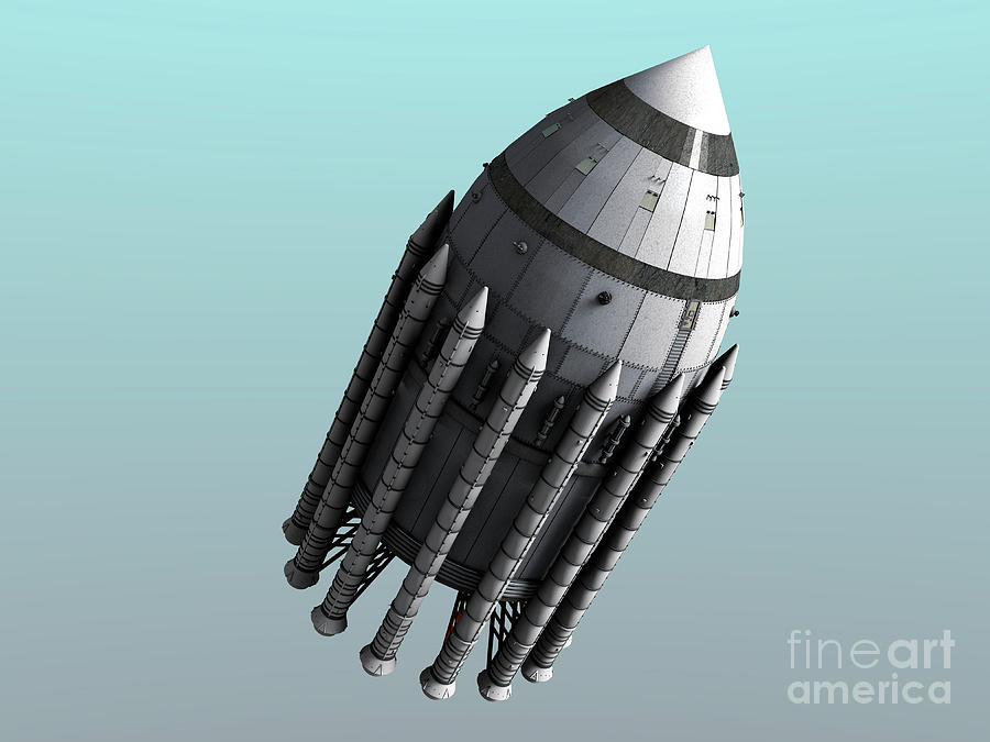 Orion-drive Spacecraft With Solid-fuel Digital Art  - Orion-drive Spacecraft With Solid-fuel Fine Art Print