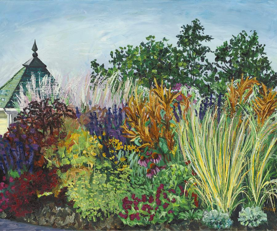 Ornamental Grasses In Longfellow Gardens Painting  - Ornamental Grasses In Longfellow Gardens Fine Art Print