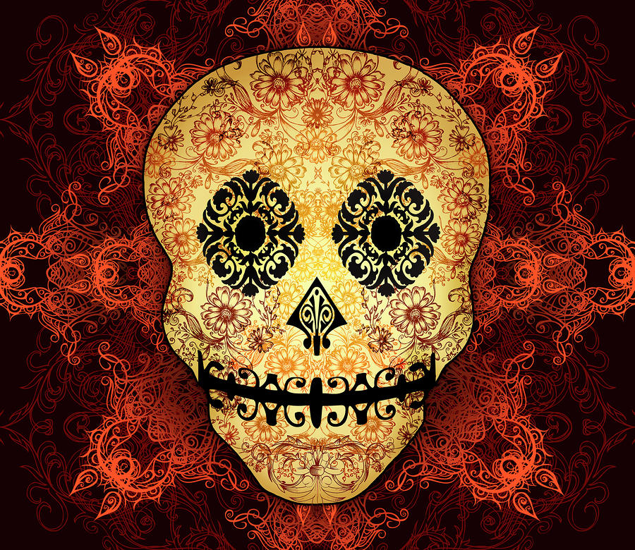 Ornate Floral Sugar Skull Digital Art