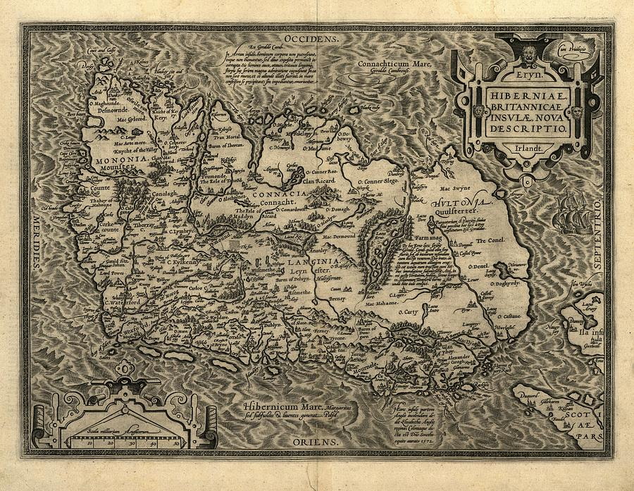 Orteliuss Map Of Ireland, 1598 Photograph  - Orteliuss Map Of Ireland, 1598 Fine Art Print