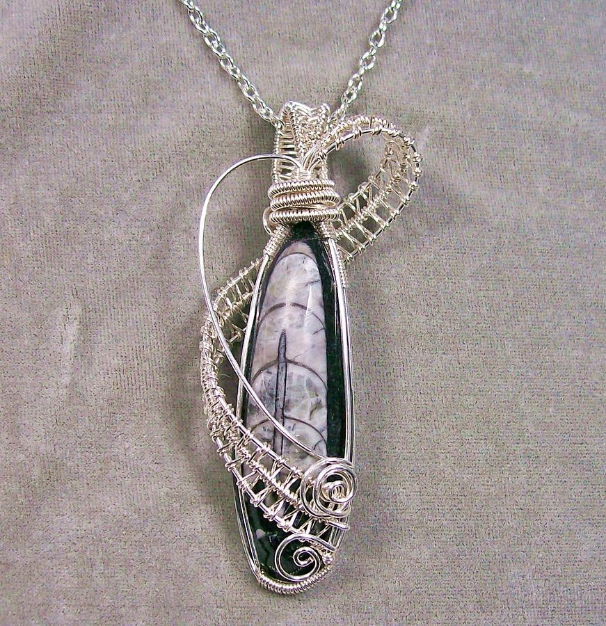 Orthoceras Fossil And Silver Pendant Necklace Jewelry