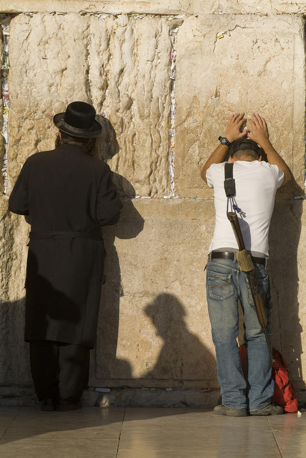 Orthodox Jew And Soldier Pray, Western Photograph