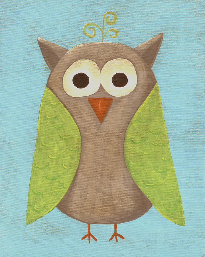 Otis The Owl Nursery Art Painting  - Otis The Owl Nursery Art Fine Art Print
