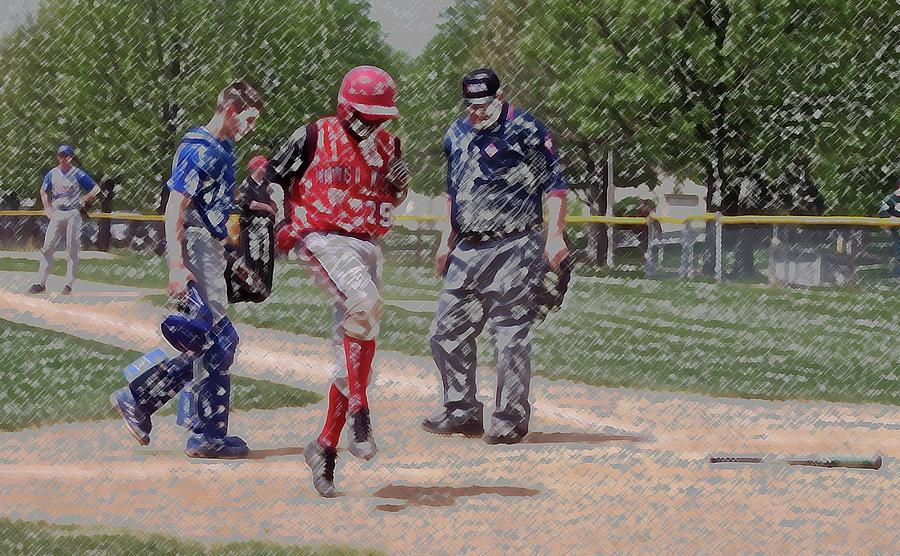Sports Digital Art - Ouch Baseball Foul Ball Digital Art by Thomas Woolworth