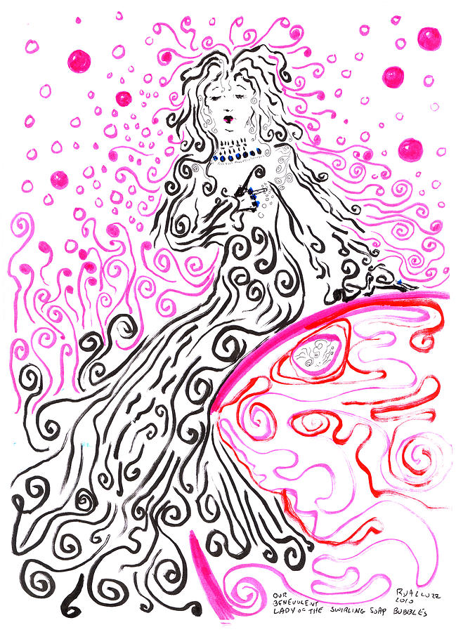 Our Benevolent Lady Of The Swirling Soap Bubbles Drawing  - Our Benevolent Lady Of The Swirling Soap Bubbles Fine Art Print