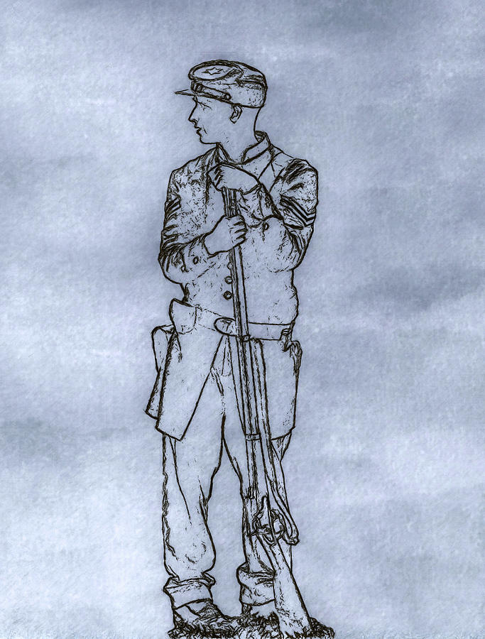 Our Boy In Blue Soldier Sketch Digital Art  - Our Boy In Blue Soldier Sketch Fine Art Print