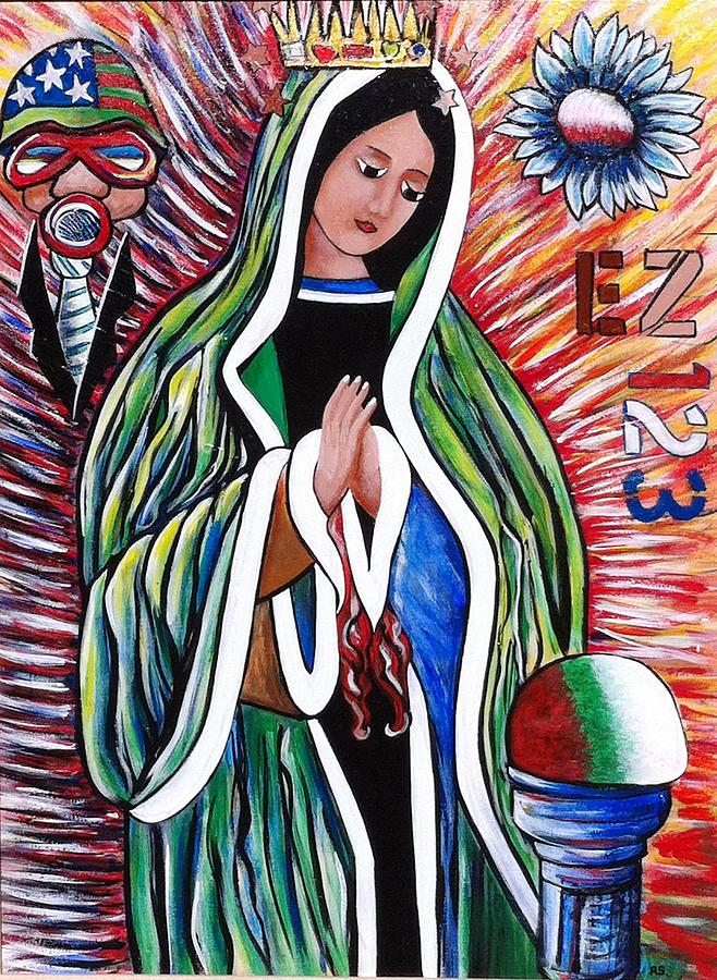 Our Lady Of The Perpetual Populous Mix Painting  - Our Lady Of The Perpetual Populous Mix Fine Art Print