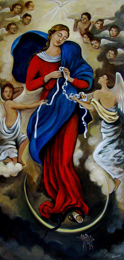 Our Lady Undoer Of Knots Painting  - Our Lady Undoer Of Knots Fine Art Print