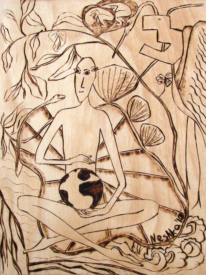 Our World No.3  Divine Plan Pyrography  - Our World No.3  Divine Plan Fine Art Print