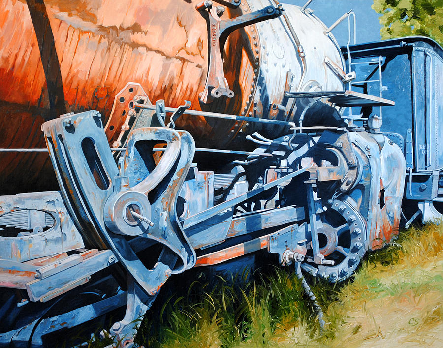 Train Painting - Out Of Gear by Chris Steinken