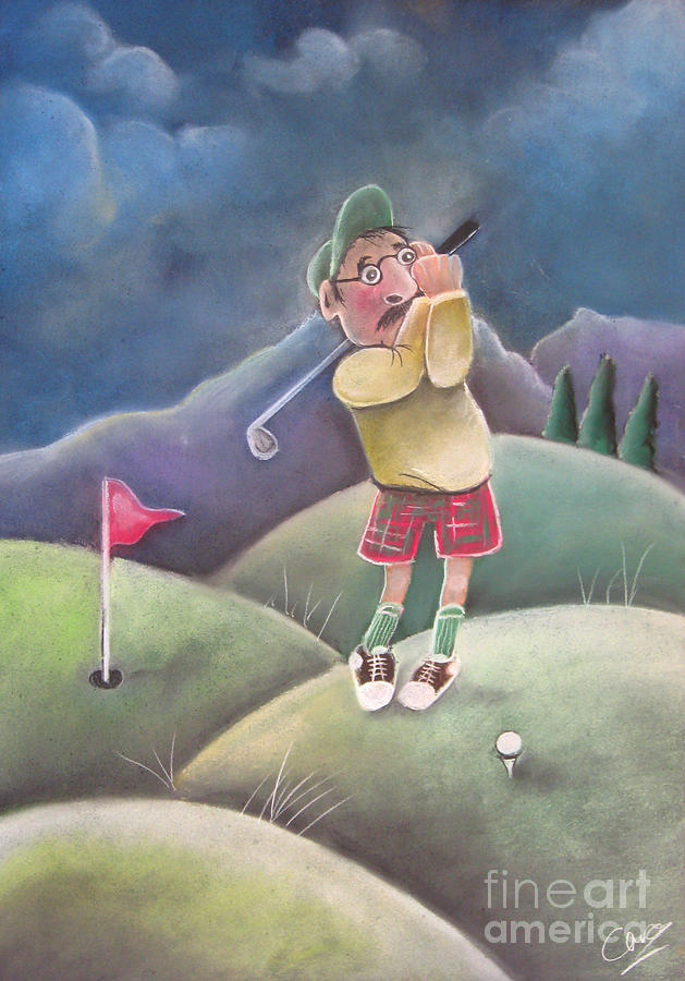 Golf Pastel - Out On The Course by Caroline Peacock