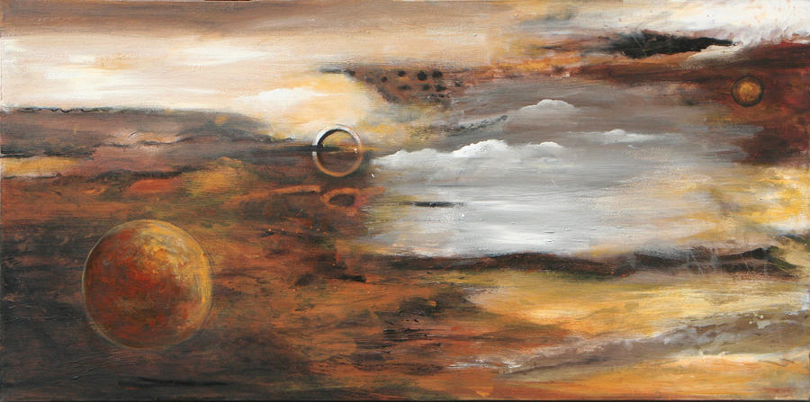 Outer Moons Painting  - Outer Moons Fine Art Print
