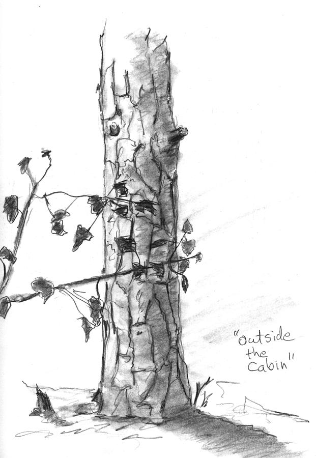 Outside The Cabin Drawing  - Outside The Cabin Fine Art Print