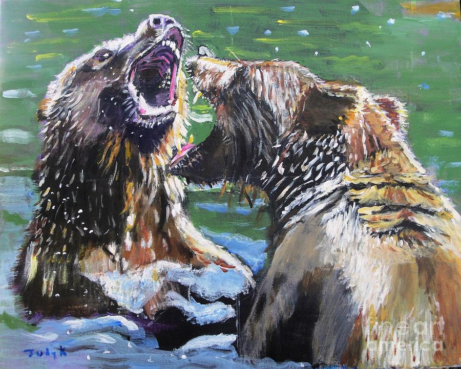 Bears Painting - Overbearing by Judy Kay