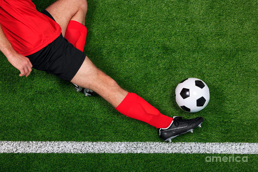 Overhead Football Player Sliding Photograph  - Overhead Football Player Sliding Fine Art Print