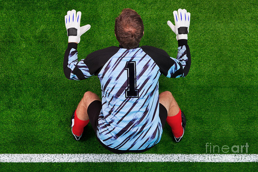 Overhead Shot Of A Goalkeeper On The Goal Line Photograph  - Overhead Shot Of A Goalkeeper On The Goal Line Fine Art Print